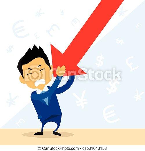 finanziario, negativo, giù freccia, cadere, uomo affari, presa, rosso - csp31643153