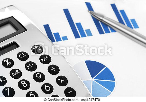 finanziell, concept., tabelle, stift, taschenrechner, bestand - csp12474701