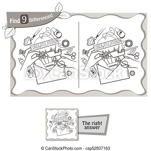 find 9 differences game handmade postcard - csp52837163
