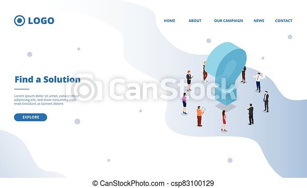 find a solution to solve business problem concept for website template or landing homepage site - csp83100129
