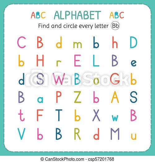 Find And Circle Every Letter B Worksheet For Kindergarten And Preschool Exercises For Children Vector Illustration Canstock - 32+ Letter B Worksheets For Kindergarten Background