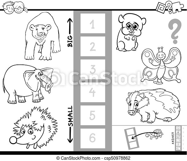 find biggest animal characters color book - csp50978862