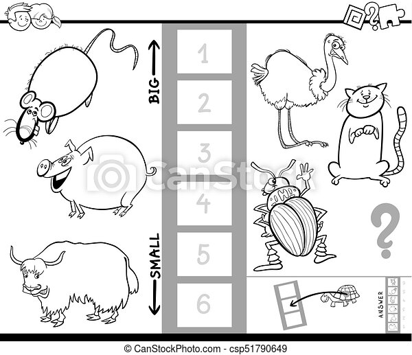 Find biggest animal color book game. Black and white cartoon... eps ...