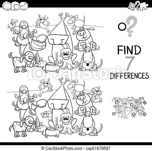 Find differences with dogs coloring book. Black and white... eps ...