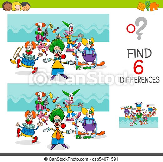find differences with funny clown characters cartoon illustration