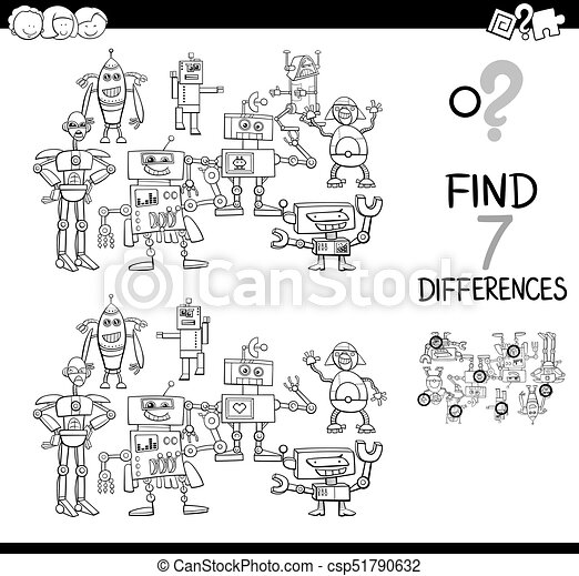 Find differences with robots color book. Black and white cartoon ...