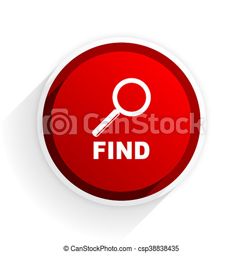 find flat icon with shadow on white background, red modern design web element - csp38838435