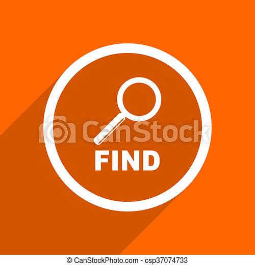 find icon. Orange flat button. Web and mobile app design illustration - csp37074733