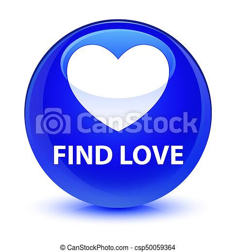 Find love glassy blue round button - csp50059364