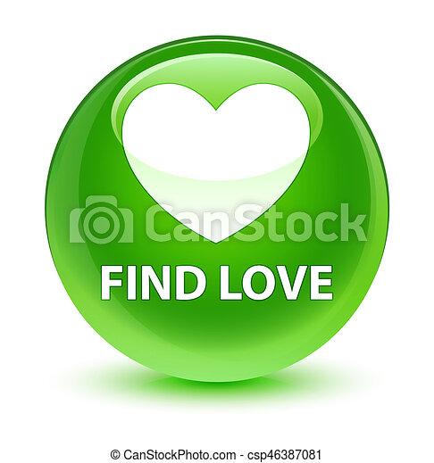 Find love glassy green round button - csp46387081