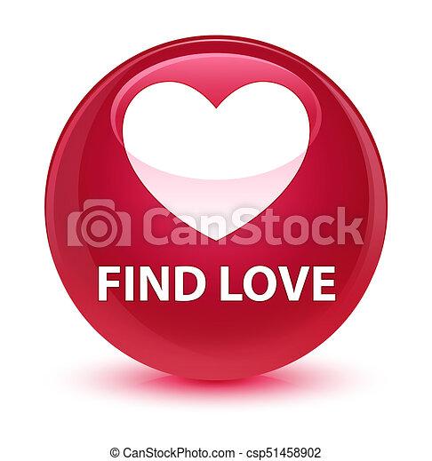 Find love glassy pink round button - csp51458902