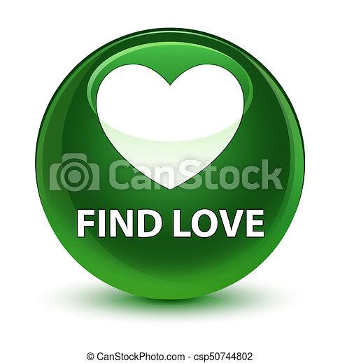 Find love glassy soft green round button - csp50744802