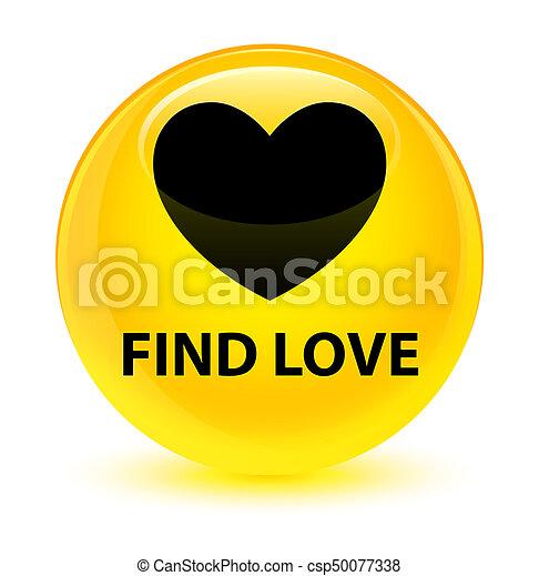Find love glassy yellow round button - csp50077338