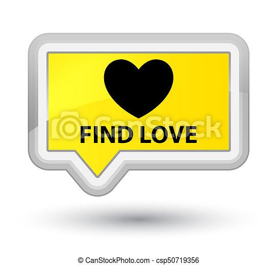 Find love prime yellow banner button - csp50719356