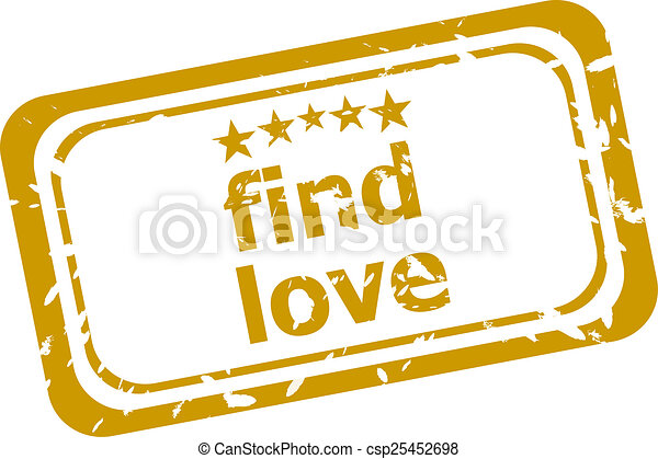 find love stamp isolated on white background - csp25452698