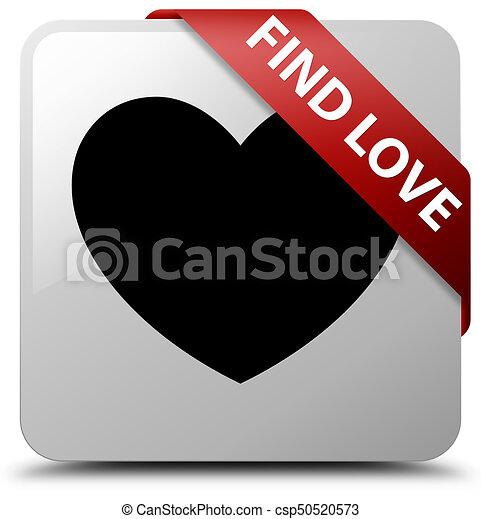 Find love white square button red ribbon in corner - csp50520573