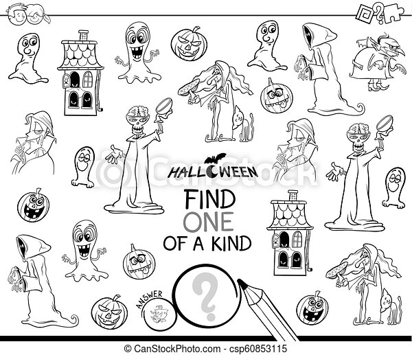 find one of a kind Halloween character color book - csp60853115