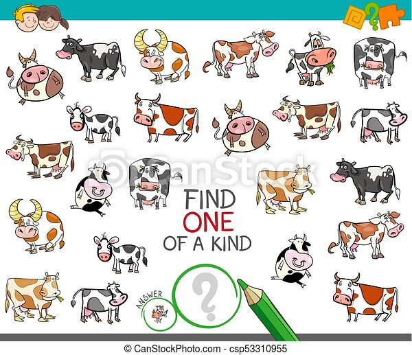 Find One Of A Kind With Cow Characters Cartoon Illustration Of Find