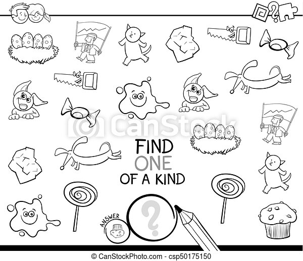 Find One Picture Of A Kind Coloring Page. Black And White Cartoon  Illustration Of Find One Of A Kind Educational Activity For CanStock