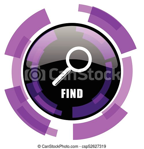Find pink violet modern design vector web and smartphone icon. Round button in eps 10 isolated on white background. - csp52627319