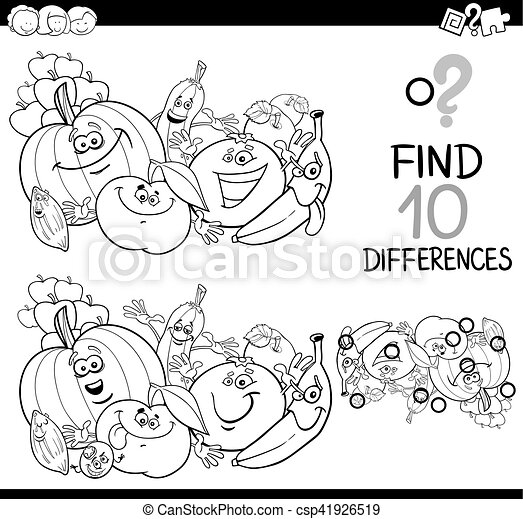 find the difference coloring page - csp41926519