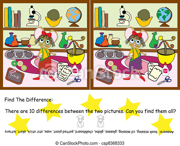 Find the difference game find the difference game vector for There is there are pictures