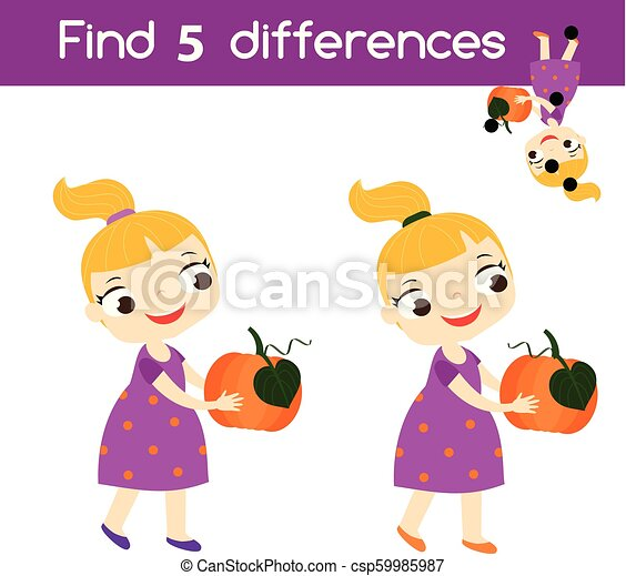 Find the differences educational children game. Kids activity sheet with girl holding pumpkin. Halloween theme - csp59985987