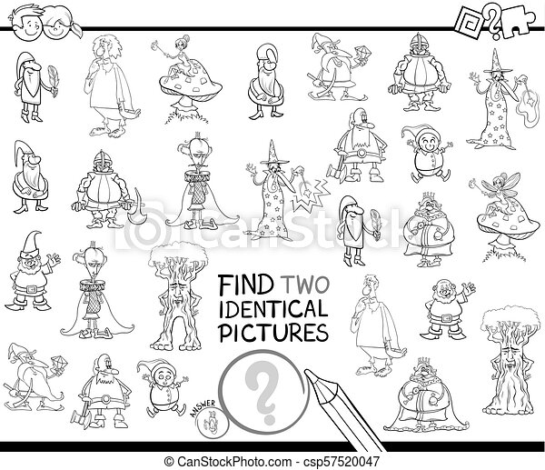 find two identical pictures coloring book - csp57520047