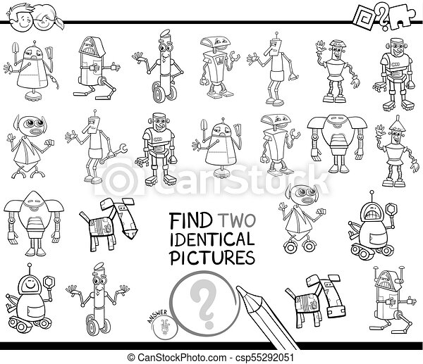 Find two identical robots coloring book. Black and white cartoon ...