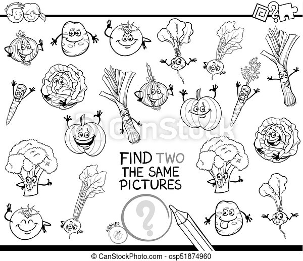 Find two the same vegetables color book Black and white cartoon