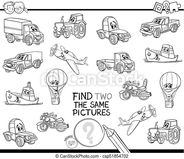 find two the same vehicles color book - csp51854702