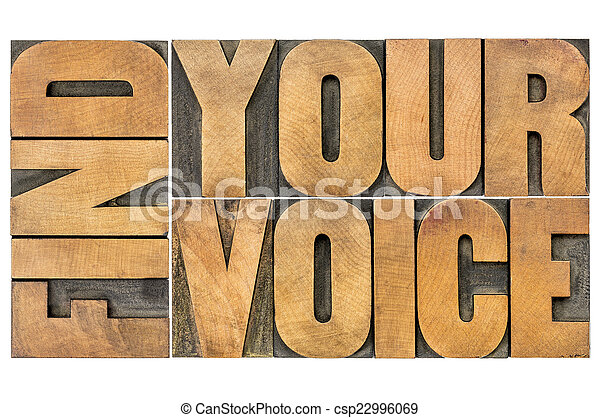 find your voice creativity concept - isolated word abstract in letterpress wood type - csp22996069