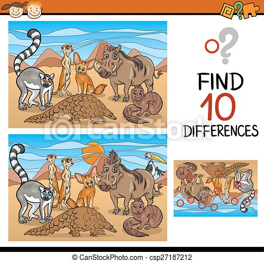 finding differences game cartoon - csp27187212