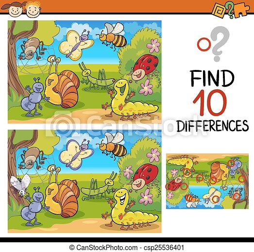 finding differences game cartoon - csp25536401