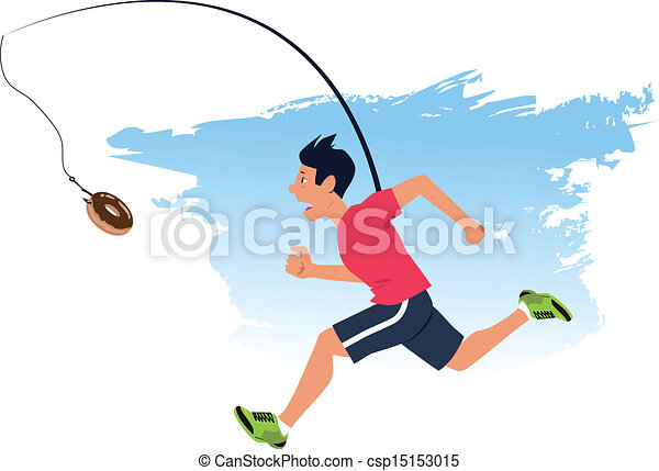 finding motivation to work out man running after a doughnut rh canstockphoto com team motivation clipart team motivation clipart