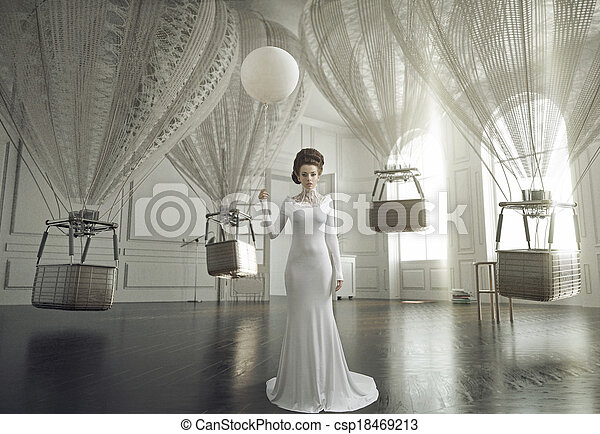 Fine art photo of a young fashion lady in a stylish interior - csp18469213