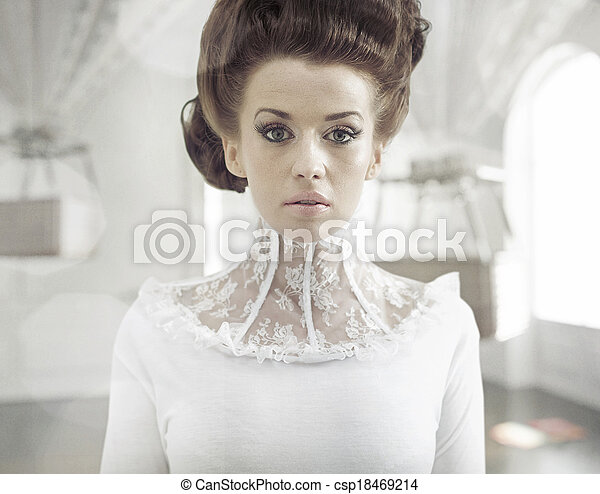 Fine art photo of a young fashion lady in a stylish interior - csp18469214