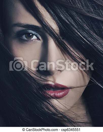 Fine art portrait of a young beautiful woman - csp6345551