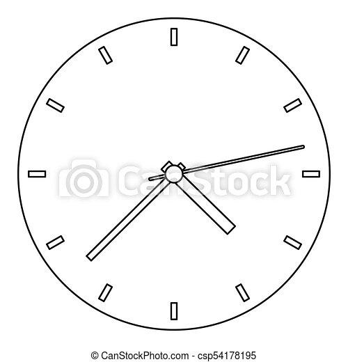 Fine clock icon, outline style