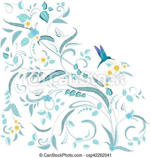 fine nature ornament with flowers and butterflies for your design - csp42262041