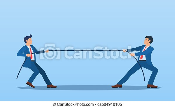 fines, dos, tirar, hombres de negocios, contrario, soga - csp84918105
