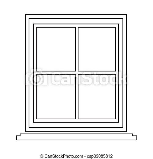 Finestra disegno simbolo illustrazione icona for Disegno di finestra aperta