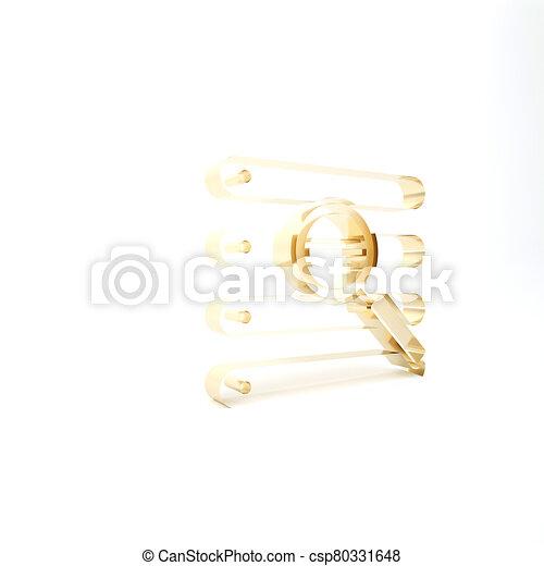 finestra, illustrazione, isolato, ricerca, icona, oro, bianco, browser, fondo., render, 3d - csp80331648