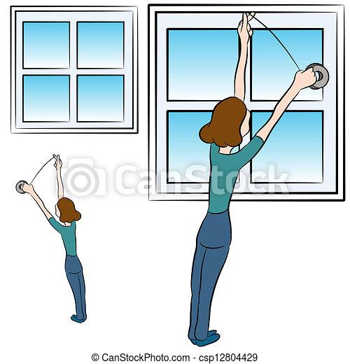 finestra, schiuma, nastro - csp12804429