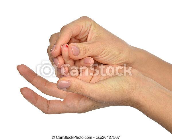 finger prick for glucose sugar measuring level blood test - csp26427567