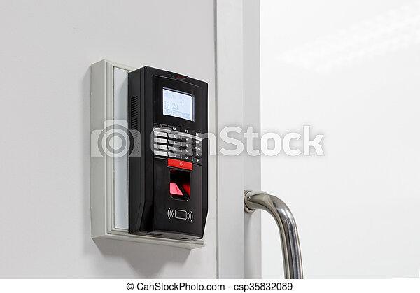 Finger print scan for unlock door security system - csp35832089