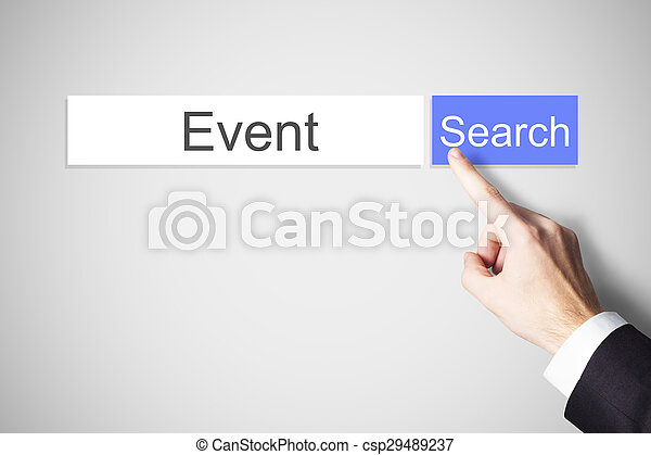 finger pushing blue web search button find event - csp29489237