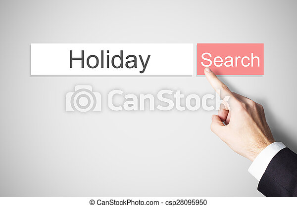 finger pushing flat web search button holiday - csp28095950