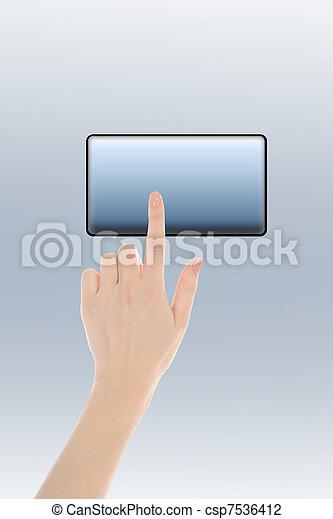 finger pushing keypad button - csp7536412