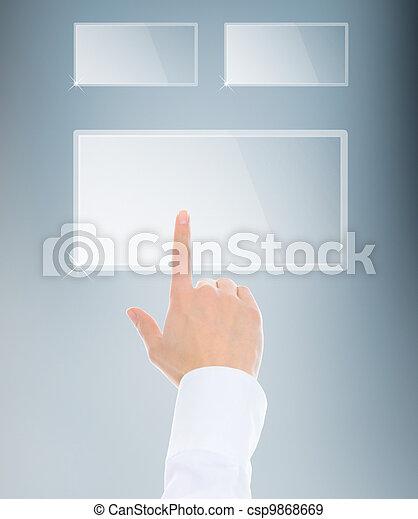 finger pushing keypad button - csp9868669